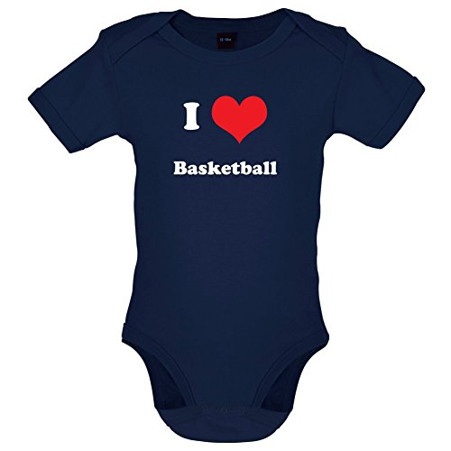 Dressdown I Love Basketball - Lustiger Baby-Body - Marineblau - 0 bis 3 Monate