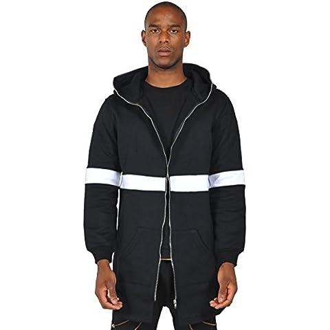 Pizoff Hombre Hip Hop Jacket Chaqueta Parka con capucha negro