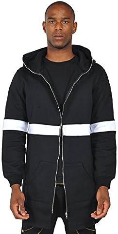 Pizoff Homme Blousons Parka à capuche en jersey avec fermetures éclair bordure Y1196--S