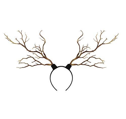 Hykis - Stirnband Gothic Halloween Zweige Weihnachten Geweih Kostüm-Frauen-Haar-Band Props [Kaffee]