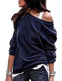 YOINS Sexy Schulterfrei Oberteil Damen Tshirt Langarmshirt Damen Pullover Rollkragen Langarm Gestreift Pulli Hemd