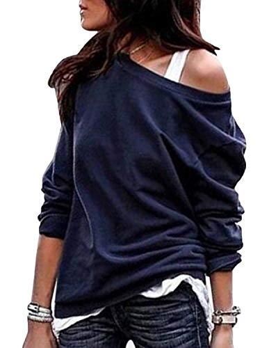 YOINS Sexy Schulterfrei Oberteil Damen Shirt Off Shoulder Top Pullover Damen Rollkragen Langarm Gestreift Pulli Lose Tshirt Hemd Einfarbig-DunkelblauEU36-38  (Herstellergröße:M)