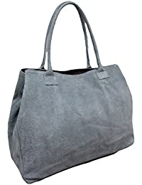 b925ed05f0863 Made in Italy Damen Schultertasche Beuteltasche Shopper Wildleder Leder Bag