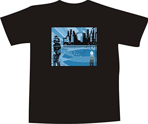 T-Shirt F1154 Schönes T-Shirt mit farbigem Brustaufdruck - Phantasie Mehrfarbig