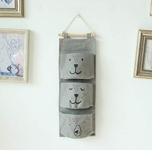 Lindong Kinderzimmer Hängender Organizer mit 3 Taschen Ordnungssysteme Wand Tür Utensilientasche Hängeaufbewahrung Aufbewahrungstasche (grau) (Hängende Schal-organizer)