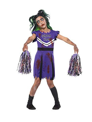 Kostüm Kinder Für Zombie Girl School - Fancy Ole - Mädchen Girl Kinder Horror High School Cheerleader Zombie Kostüm, Kleid mit Pom Poms, perfekt für Halloween Karneval und Fasching, 122-134, Lila
