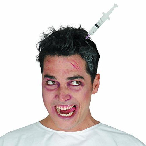 Jeringa en la cabeza Diadema con jeringuilla de Halloween Accesorio disfraz zombie Complemento muerto viviente Añadido para el pelo noche de brujas Ornamentación cabello fiesta de terror