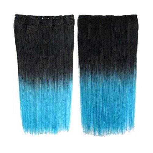 Longue perruque - SODIAL(R) Extensions de cheveux colores 130g 60cm resistant a la chaleur fantastique synthetique longs clip dans avec 5 clips piece de cheveux (droit, Noir + Bleu clair)