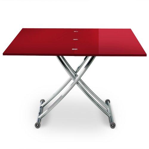 Menzzo B2219S Contemporain Carrera Table Basse Relevable Bois/Inox Laqué Rouge 57/100 x 100/114,2 x 39/76,3 cm
