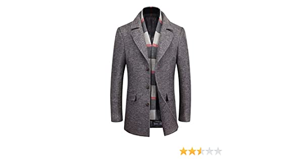 GOMY Mens Winter Warm Short Woolen Coat Business Jacket with Free Detachable Scarf