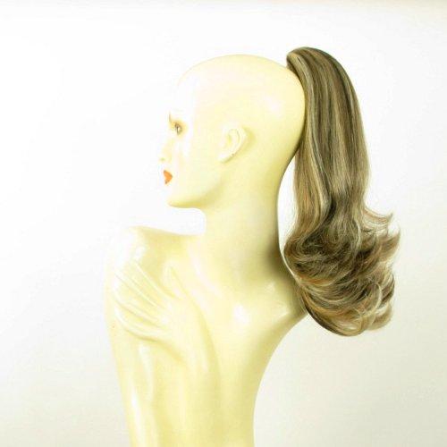 Postiche queue de cheval extension femme mi-longue 40 cm blond clair méché cuivré clair et chocolat ref 8 en 15613h4