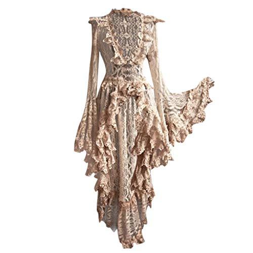 Lazzboy Kostüm Karneval Halloween Frauen Vintage Gothic Court Square Kragen Patchwork Bow Kleid Damen Korsett Lang Party Steampunk Korsage Fasching Corsage (Beige,4XL) (Herr Der Ringe Katze Kostüm)