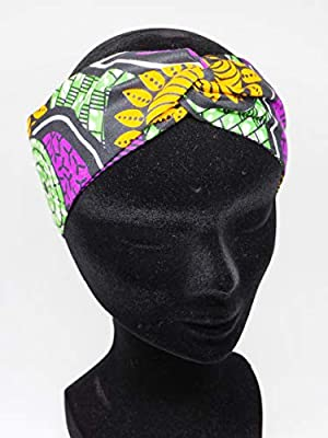 Twisted headband hairband bandeau en wax vert violet jaune