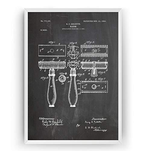 Doppelklingenrasierer Patent Poster - Rasieren Männer Bart Schnurrbart Friseur Männlich Pflegen Barbiere Friseur Toilette Mauer Zeichnungen Art Geschenke - Rahmen nicht enthalten