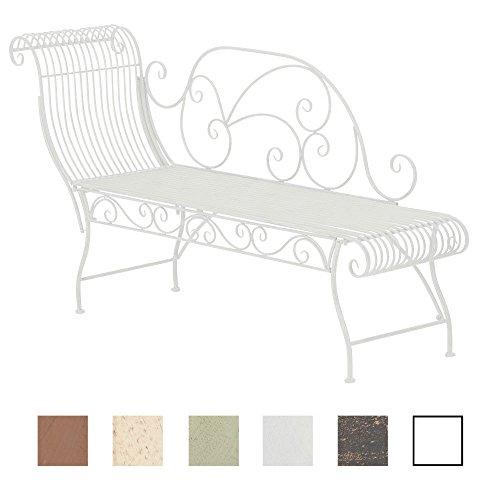 CLP Banc de Jardin PARTOGUS - Banquette de Jardin en Métal avec Recamière - Banc de Jardin Style Romantique 160 x 50 cm, Chaise Longue en Fer - Couleur au Choix: Blanc