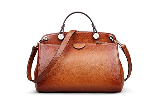 Hermiona Cow Leather Bag Shoulder Bag Top-handle Tote Bag Red brown