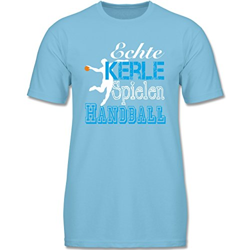 Verrückte Jungs T-shirt (Sport Kind - Echte Kerle Spielen Handball Weiß - 152 (12-13 Jahre) - Hellblau - F140K - Jungen T-Shirt)