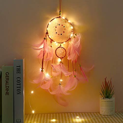 Prosperveil atrapasueños Iluminado para Colgar en la Pared con Luces LED y Cuentas de Plumas para decoración de habitación de niñas