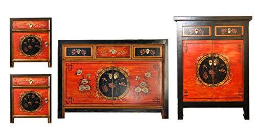 Schlafzimmer-möbel-outlet (opium outlet Chinesische Möbel Kombination Coalflowers Shabby Chic Vintage Sideboard Kommode Hochzeitsschrank Nachtkästchen (Coalflowers-4))