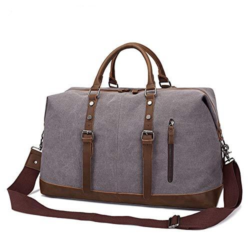 RHUFO Herrenhandtasche Übergroße Canvas Leder Trim Travel Tote Schulter Handtasche Weekend Bag Dark Khaki Geeignet für jeden Ort (Farbe : Dark Khaki, Size : 52 * 31 * 22.5cm) Ort Trim