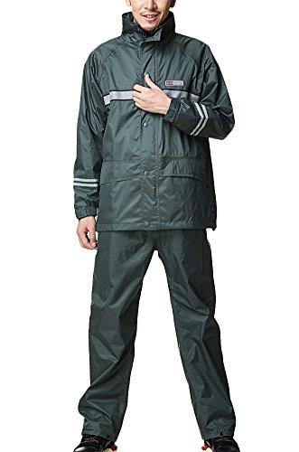 Icegrey Wasserdichten Regenanzug mit Reflexstreifen Regenjacke mit Kapuze und Regenhose für Damen und Herren Regenkombination Regencape...