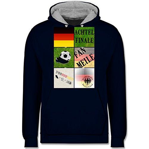 Fußball-WM 2018 - Russland - Deutschland Achtelfinale Fan Shirt - Kontrast Hoodie Dunkelblau/Grau meliert