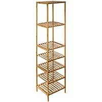 Estantería de almacenaje de BAMBÚ con 5 estantes + 2 estante modulable para guardar cada cosa en su sitio – Multiusos – Exótico y Zen - mueblesdebanoprecios.eu - Comparador de precios