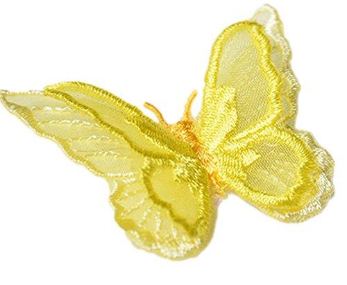 Maoran Aufnäher, zum Aufnähen oder Aufbügeln, Banner, Stickerei, T-Shirt, Rock, Jeans, Westen, Hüte, Taschen, Kleidung, Dekoration, dreidimensionaler Schmetterling, 4,5 cm x 5 cm, gelb, 4.5 * 5CM - Stickerei-jeans-rock