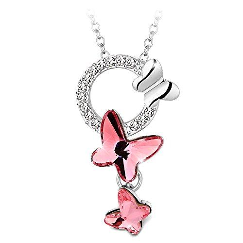 T400 joyeros Swarovski elementos cristal mariposa colgante collar, rosado,regalo día de San...