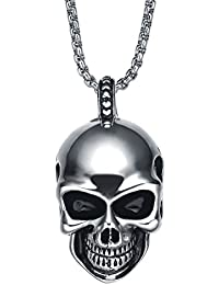 Stainless Steel Men's Gothic Smiling Skull Pendant Necklace With 3.5Mm Round Link Chain - G2049D