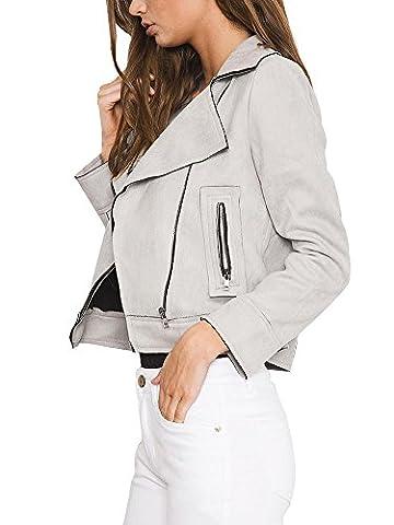 Simplee Apparel Women's Suede Zip up Biker Faux Leather Jacket Crop Coat
