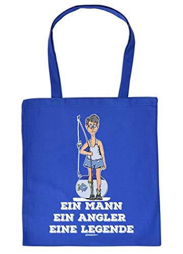 Tasche mit Motiv fr Angler: EIN Mann, EIN Angler, eine Legende - Geschenkidee fr alle Hobbyangler - Fischen - Royalblau