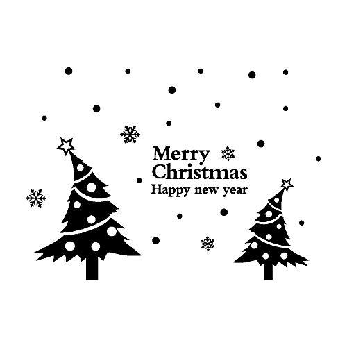 Fenverk Neujahr FröHliche Weihnachten Wand Aufkleber Zuhause GeschäFt Windows Abziehbilder Dekor SchöN Baum Dekoration Zum Fenster Hintergrund Entfernbar Geschenk Hirsch Kunst TüR Fliese(Black)