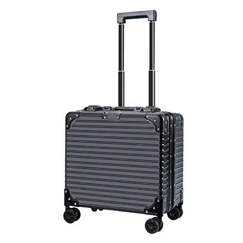 HLLZRY Custodia per Laptop con Ruote per Cabina di Lavoro, Carrello Pilota con Telaio in Alluminio, Bagaglio a Mano ABS, Valigia Trolley Leggera, Borsa per Trolley, Nero,18inch/42x40x23cm