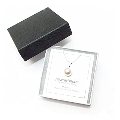 End of line clearance. 925 Sterling Silver pendant and fine chain handmade with a White crystal pearl from SWAROVSKI® for Women