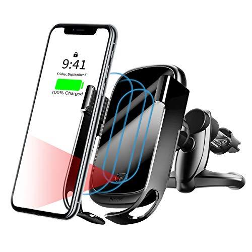 Baseus Caricatore Wireless Auto,con sensore a infrarossi, 10W, Ricarica Qi Compatibile con Samsung S10, S9, S8 Plus Note 9, 7.5W per iPhone XS, XR, XS, Max X, 8 Plus, Huawei P30 PRO (Nero(Nuovo))
