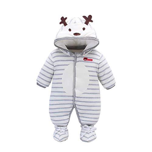 y Strampler Mädchen Jungen Winter Gewicht Hoodies Jumpsuit Rentier Overalls Weihnachts Bodysuit mit Schuhen 0-12 Monate ()
