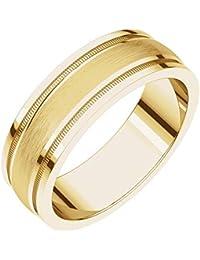 c11ff9ace6c2 Banda Milgrain de oro amarillo con borde plano de ajuste cómodo con acabado  satinado modelo 4zOiCC2