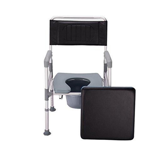 MyAou-commode Vieille Chaise de Cuvette des Toilettes Patient d'âge Moyen Mobile Chaise d'aisance Pliante Portable