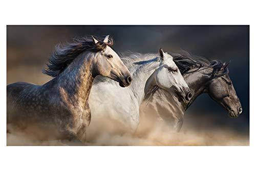 LimeWorks Badetuch, 70x140 cm, Pferde-Motiv galoppierende Pferde, Baumwolle/Mikrofaser, Made in EU