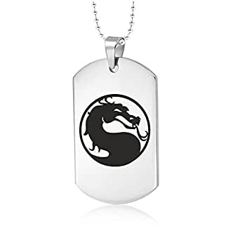 Mortal Kombat Combat Necklace Dog Tag Pendant Stainless Steel Fashion Jewellery