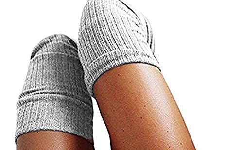URSING Mädchen Damen Frau Schenkel Hoch Overknee Socken Lange Baumwollstrümpfe Warm Kniestrümpfe Schick Hochschule Elastisch Strümpfe Baumwolle Stricken Klassischer High Socks (60-80cm, Grau) -