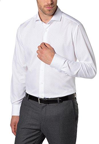 ETERNA Langarm Hemd MODERN FIT figürliche Schaftmuster strukturiert Weiß