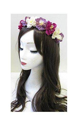 Ivoire chaud rose violet fleur cheveux Bandeau Couronne Argent/festival/style bohème U80 * * * * * * * * exclusivement vendu par – Beauté * * * * * * * *