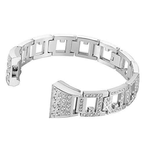 Bracelets de Montres Argent - Dxlta Bracelet Réglable Strass Métal de Remplacement Bracelet de Montre Pour Fitbit Charge 2