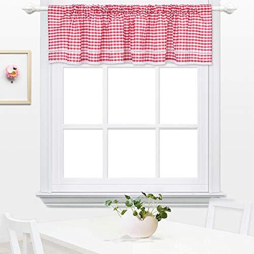 DOKOT Kariert Gingham Baumwolle Querbehang Küche Vorhang Gardinen Schals Fensterschal Vorhänge 30x150cm Rot (Küche Große Vorhänge)