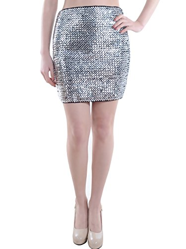 Anna-Kaci Damen Blingbling Pailletten Elastisch Hauteng Body Con Stretch ini Bleistift Rock (Con Pailletten-body Kleid)