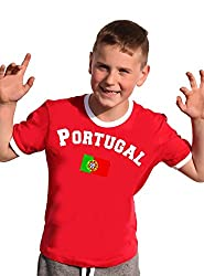 Portugal T-Shirt Kinder Ringer Weiss-rot, 164