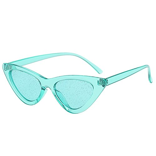 YEZIJIN Vintage Cat Eye Pailletten Transparent Sonnenbrille Retro Eyewear Fashion Free Size D