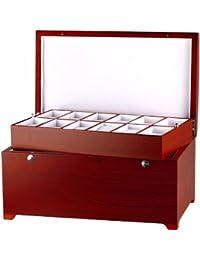 Lindberg & Sons Uhrenbox für 24 Uhren verschiedene Materialien rot UB-10-77-M